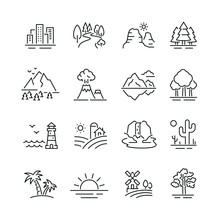 Landscape Related Icons: Thin ...