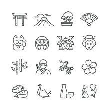 Japan Related Icons: Thin Vector Icon Set, Black And White Kit