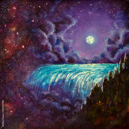 Romantic night landscape. Emerald waterfall, purple starry sky, fluffy clouds and a large moon - acrylic painting on canvas