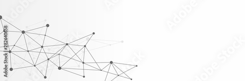 Black and white abstract futuristic crypto blockchain illustration. Grey dots and shapes in triangles for website header or banner design