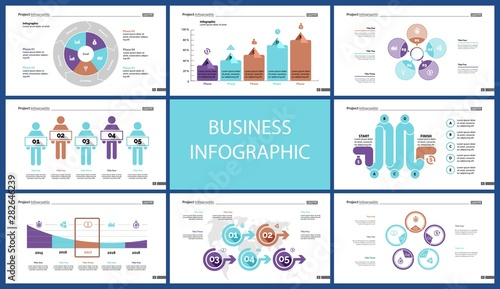 Fotografie, Tablou  Set of financial analysis concept infographic charts