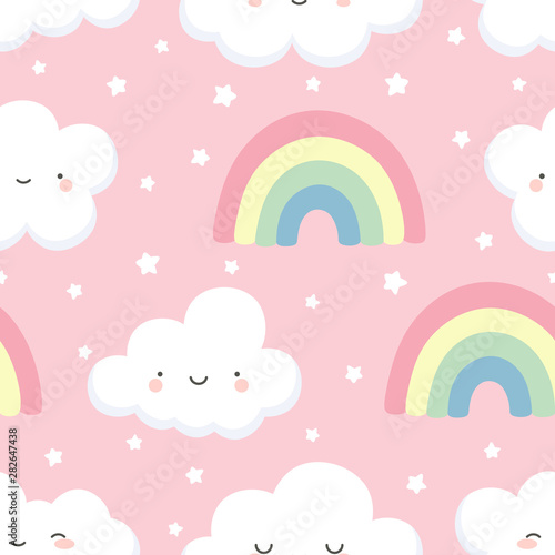 cloud-pattern-cute-face-cloud-background-rainbow-and-stars-seamless-pattern-cartoon-vector-illustration-sky-background-for-baby