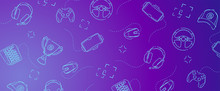 Game Gadgets - Line Concept Art With Modern Blue And Violet Background For Web, Market, Banner Or Fb Cover.