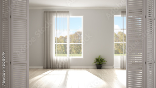 Fototapeta White folding door opening on modern stylish empty room with panoramic windows, white interior design, architect designer concept, blur background obraz na płótnie