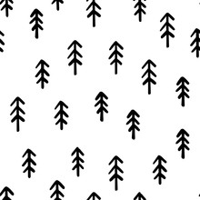 Hand Draw Christmas Tree Seamless Pattern Black And White Colors. Monochrome Vector Simple Scandinavian Background. Ink Doodle Texture For New Year 2020. For Postcards, Packaging, Printing On Fabric
