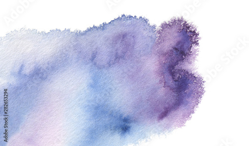 Abstract watercolor and acrylic blot painting. Blue Color design element. Texture paper. Isolated on white background.