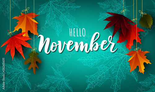 Obraz November word. Hand lettering typography with autumn leaves. Vector illustration as poster, postcard, greeting card, invitation template. Concept November advertising - fototapety do salonu