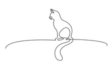 One Line Drawing. Cat Sitting With Curled Tail