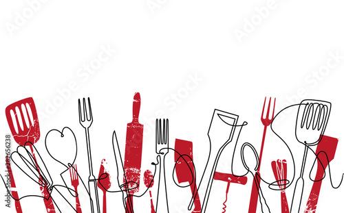 Fotografie, Obraz  Cooking Seamless Pattern