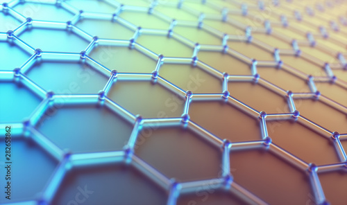Stampa su Tela  Abstract Hexagonal Atomic Connection Science Technology