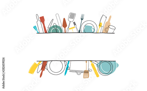 Cooking Template Frame with Hand Drawn Utensils and Plase for your Text Canvas Print