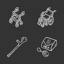 Disabled Devices Chalk Icons S...