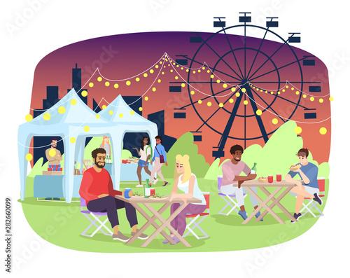 Summer night fair flat vector illustration Fototapet