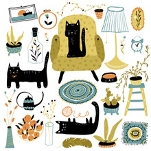 Vector Set With Black Cats In ...