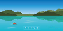 Lonely Canoeing Adventure With Red Boat On Beautiful Turquoise Lake Vector Illustration EPS10