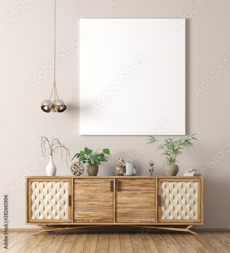 Interior with wooden cabinet and poster 3d rendering Canvas-taulu