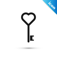 Black Key In Heart Shape Icon ...