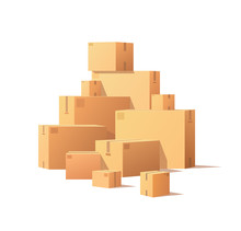 Pile Of Parcel Boxes, Stacked Sealed Goods In Cardboard. Realistic Packages With Adhesive Tape Isolated On White. Carton Packs Vector Delivery Icons