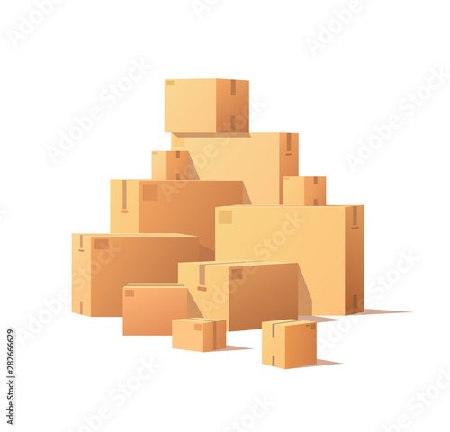 Fototapeta Pile of parcel boxes, stacked sealed goods in cardboard. Realistic packages with adhesive tape isolated on white. Carton packs vector delivery icons obraz