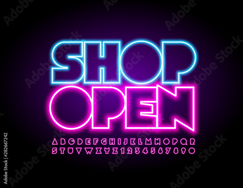 Vector bright Sign Shop Open with pink Uppercase Font Canvas-taulu