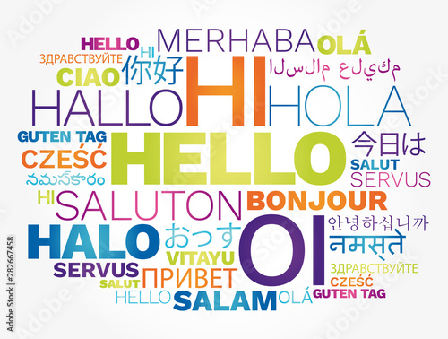 Photographie Hello concept word cloud in different languages of the world