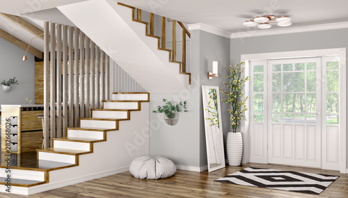 Fényképezés  Interior of modern hall with staircase 3d rendering