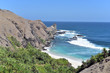 Small sandy beaches seen from Bukit Merese Hills in South Lombok, Indonesia