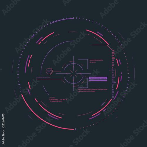 Fotografie, Obraz Futuristic aim system overlay vector illustration