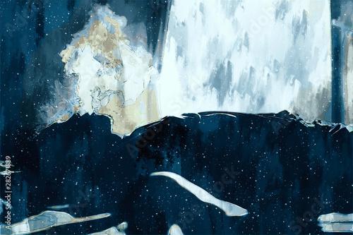Obraz Digital painting of sad man thinking something in bed room, illustration of depression of people - fototapety do salonu