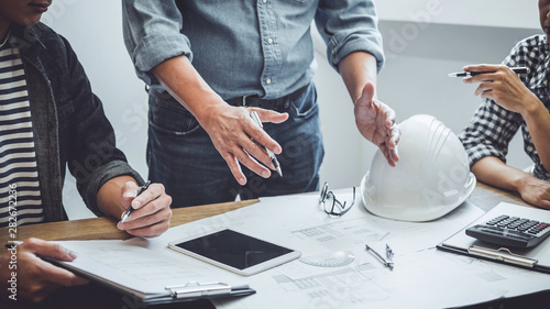Construction and structure concept of Engineer or architect meeting for project Fototapet