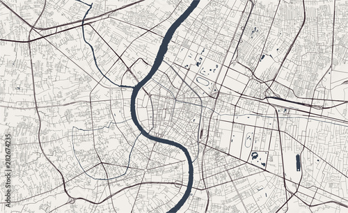 Fototapeta vector map of the city of Bangkok, Krung Thep Maha Nakhon, Kingdom of Thailand