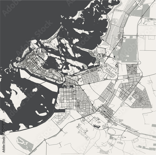 Fotomural vector map of the city of Abu Dhabi, United Arab Emirates (UAE), Emirate of Abu