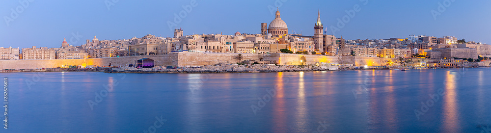 Fototapety, obrazy: Valletta Panoramic view of the city and the bay at sunset.