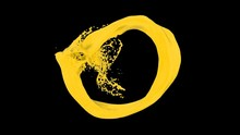 Splashing Ring Of Yellow Paint Forms Ball - On Black, Alpha Included (FULL HD)