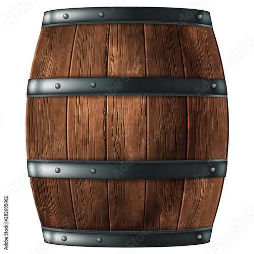Wooden barrel for wine or other drinks, studded with iron rings on a white background. 3D vector. High detailed realistic illustration. Fototapete
