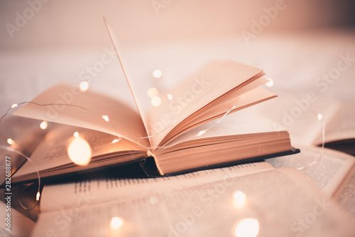 Fotografie, Obraz Open book with magic Christmas lights closeup