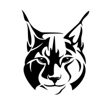 Wild Lynx Looking Straight Forward - Bobcat En Face Head Black And White Vector Design
