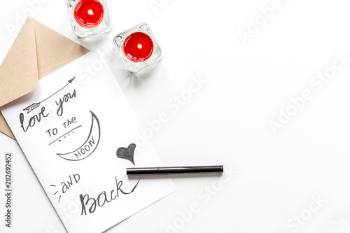 Fotografía concept of Valentine Day love letter white background top view
