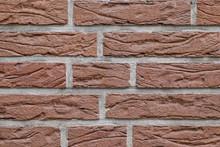 Backsteinwand Als Strukturiertes Mauerwerk Als Schöner Hintergrund Mit Backsteinen Und Klinker Als Zeichen Betagter Architektur Der 1980er Mit Sauberen Fugen Verputzt
