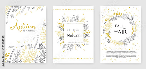 Gold color invitation with floral branches Canvas Print