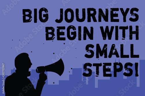 Obraz na plátně Text sign showing Big Journeys Begin With Small Steps