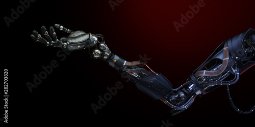 Prosthetic robotic arm with open palm, 3d rendering Fototapeta