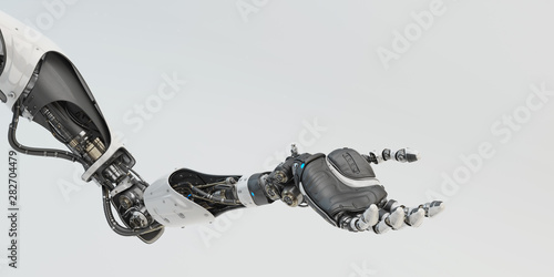 Photo Prosthetic handsome robotic arm, 3d rendering