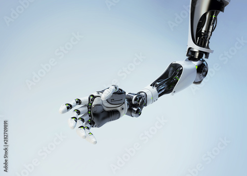 Photo Sci-fi robotic arm pointing with index finger, 3d rendering