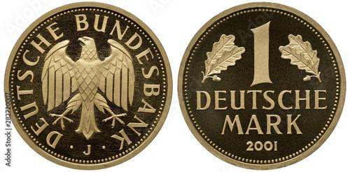 Tela  Germany German commemorative golden coin 1 one mark 2001, subject Last mark, eag