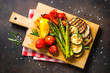 canvas print picture Grilled vegetables - zucchini, paprika, eggplant, asparagus and tomatoes.