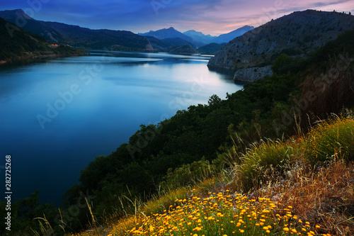 Poster Pays d Asie mountains reservoir in summer twilight
