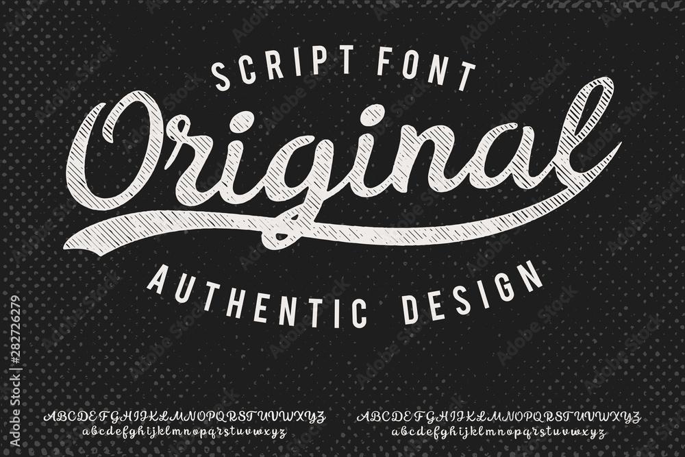 Fototapeta Original. Hand made script typeface. Vintage brush script. Retro vector illustration. Print for clothes.