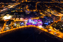 Beautiful Aerial View On Coast Of The Night City