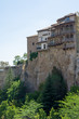 Vertical panoramic of the typical hanging houses of the city of Cuenca in Spain, Europe